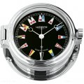 WEMPE Reloj en Ojo de Buey 140mm Ø (Serie REGATTA) Porthole clock chrome plated with flag-themed clock face on black background