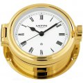 WEMPE Reloj en Ojo de Buey 140mm Ø (Serie REGATTA) Porthole clock gold plated with Roman numerals on white clock face