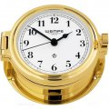 WEMPE Reloj en Ojo de Buey 140mm Ø (Serie REGATTA) Porthole clock gold plated with Arabic numerals on white clock face