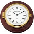 WEMPE Reloj de Barco 210mm Ø (Serie SKIPPER) Ship clock brass in mahogany wood
