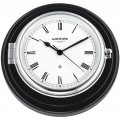 WEMPE Reloj de Barco 210mm Ø (Serie SKIPPER) Ship clock chrome plated on black wooden board